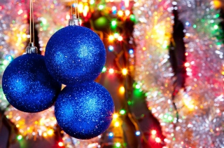 Blue Christmas Tree Balls Wallpaper for Android, iPhone and iPad