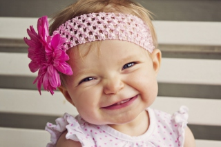 Little Girl In Pink Flower Crown Wallpaper for Android, iPhone and iPad