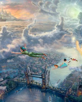 Thomas Kinkade, Tinkerbell And Peter Pan - Obrázkek zdarma pro Nokia Asha 202