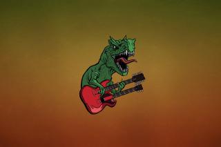 Dinosaur And Guitar Illustration - Obrázkek zdarma pro 480x400