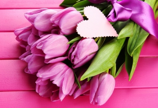 Pink Tulips Bouquet And Paper Heart Wallpaper for Android, iPhone and iPad