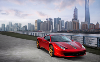 Ferrari In The City Wallpaper for Android, iPhone and iPad