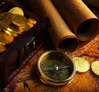 Gold and Pirate Map - Obrázkek zdarma pro 208x208