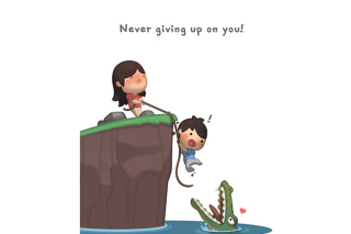 Love Is - Never giving up on you Wallpaper for Android, iPhone and iPad