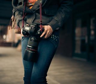 Girl With Photocamera - Obrázkek zdarma pro 128x128