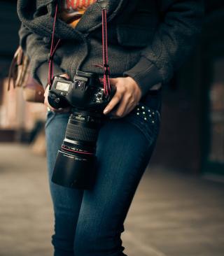 Girl With Photocamera - Obrázkek zdarma pro 352x416