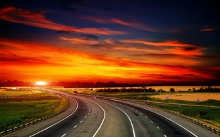 Free Sunset Highway Hd Picture for Android, iPhone and iPad