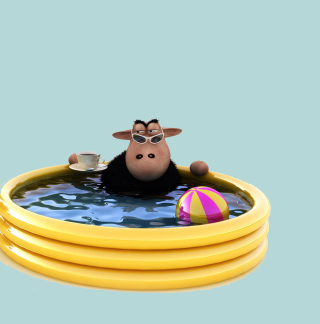 Sheep In Pool - Obrázkek zdarma pro 208x208