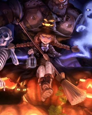 Ghost, skeleton and witch on Halloween - Obrázkek zdarma pro 128x160