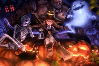 Ghost, skeleton and witch on Halloween - Obrázkek zdarma pro 1366x768