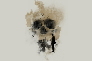 Man Looking At Skull City Background for Android, iPhone and iPad
