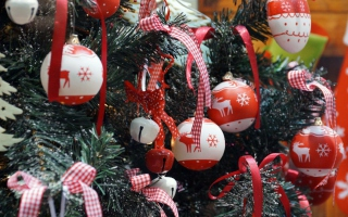 Red Christmas Balls With Reindeers Background for Android, iPhone and iPad