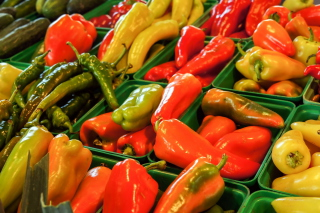Colorful Peppers Background for Android, iPhone and iPad