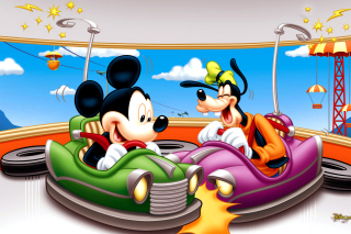 Mickey Mouse in Amusement Park Background for Android, iPhone and iPad