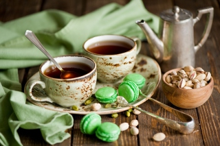 Pistachio Macarons And Tea Wallpaper for Android, iPhone and iPad