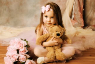Cute Little Girl With Teddy Bear Wallpaper for Android, iPhone and iPad