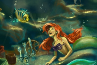 Little Mermaid Painting Background for Android, iPhone and iPad