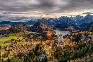 Neuschwanstein Castle Panorama Background for Android, iPhone and iPad