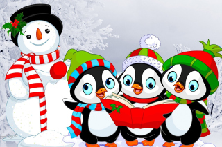 Snowman and Penguin Toys Background for Android, iPhone and iPad