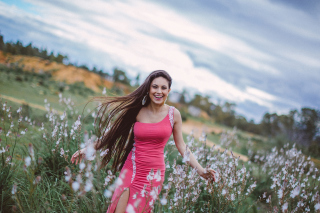 Happy Girl In Field Background for Android, iPhone and iPad