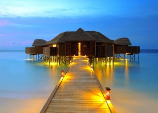 Bungalows In Ocean Background for Android, iPhone and iPad
