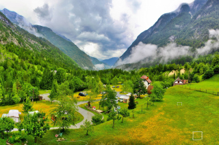 Slovenian Mountains Landscape Background for Android, iPhone and iPad