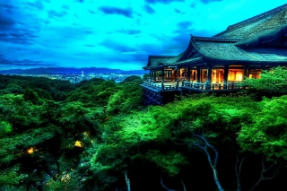 Temple Over Green Trees Background for Android, iPhone and iPad