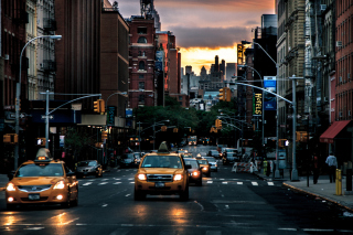 Free New York City Streets At Sunset Picture for Android, iPhone and iPad