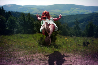Girl Jumping And Flying Picture for Android, iPhone and iPad