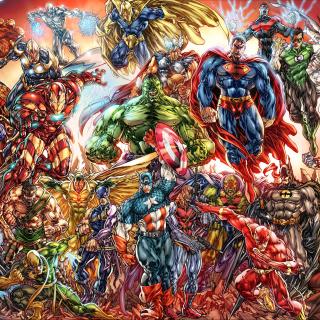DC Universe and Marvel Comics - Obrázkek zdarma pro iPad Air