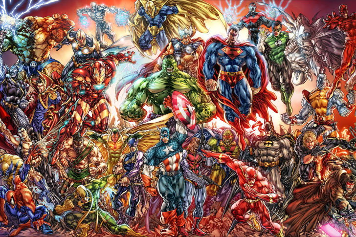 DC Universe and Marvel Comics wallpaper
