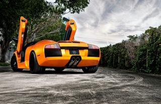 Orange Lamborghini Murcielago Background for Android, iPhone and iPad