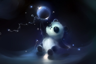 Cute Little Panda With Balloon Wallpaper for Android, iPhone and iPad