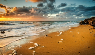 Yellow Blue Colors Of Sea Sunset Wallpaper for Android, iPhone and iPad