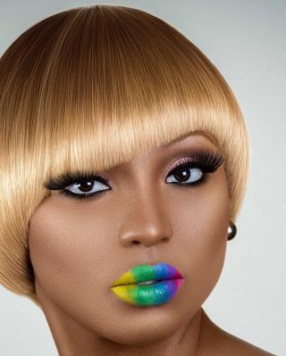 Rainbow Makeup - Obrázkek zdarma pro iPhone 4S