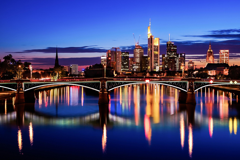 страны архитектура вечер город Франкфурт-на-Майне Германия  № 155557 загрузить
