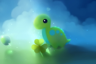 Cute Green Dino Wallpaper for Android, iPhone and iPad