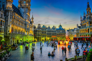 Grand place by night in Brussels Picture for Android, iPhone and iPad