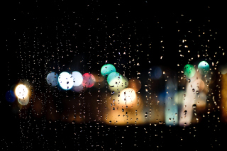 Raindrops on Window Bokeh Photo Wallpaper for Android, iPhone and iPad