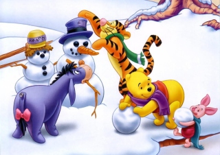 Free Winnie The Pooh Winter Picture for Android, iPhone and iPad