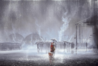Couple Under Umbrella Painting Picture for Android, iPhone and iPad