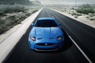 Blue Jaguar Xk R 2012 Background for Android, iPhone and iPad