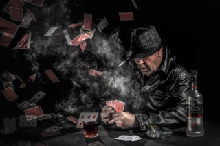 Gambler with vodka Wallpaper for Android, iPhone and iPad