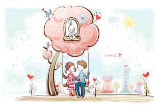 Cartoon Vector Couple Background for Android, iPhone and iPad
