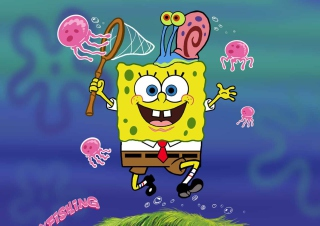 Spongebob And Jellyfish Wallpaper for Android, iPhone and iPad