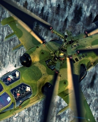 Military helicopter, Kamov Ka 50, Ka 52 Alligator - Obrázkek zdarma pro 128x160