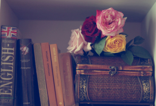 Flowers And Vintage Box Picture for Android, iPhone and iPad
