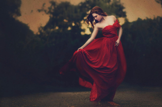 Girl In Beautiful Red Dress Background for Android, iPhone and iPad