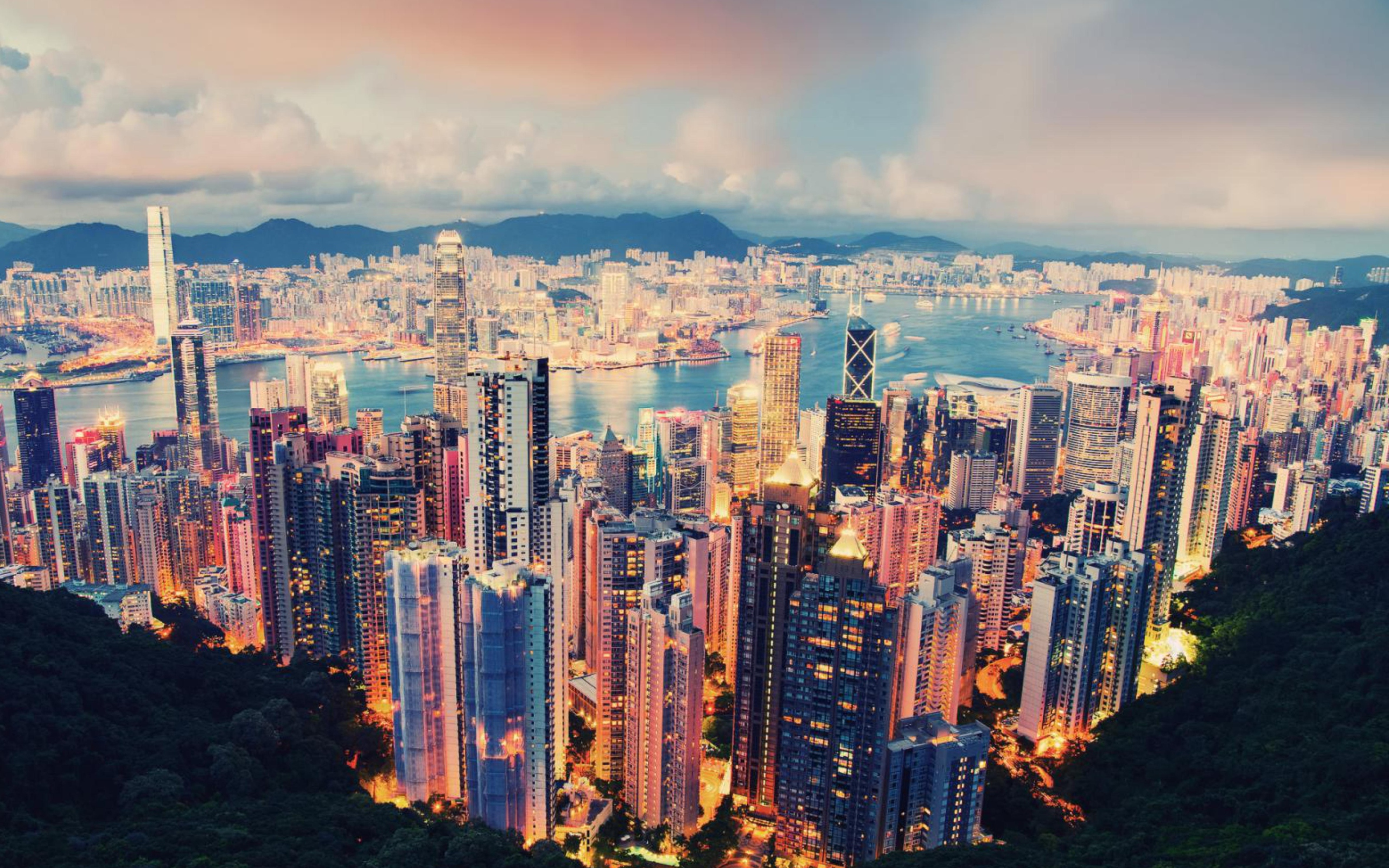 Гонконг архитектура ночь город страны  № 2229787 бесплатно