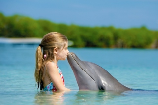 Girl and dolphin kiss Background for Android, iPhone and iPad